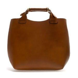 Zara tan buffalo leather bucket tote bag.